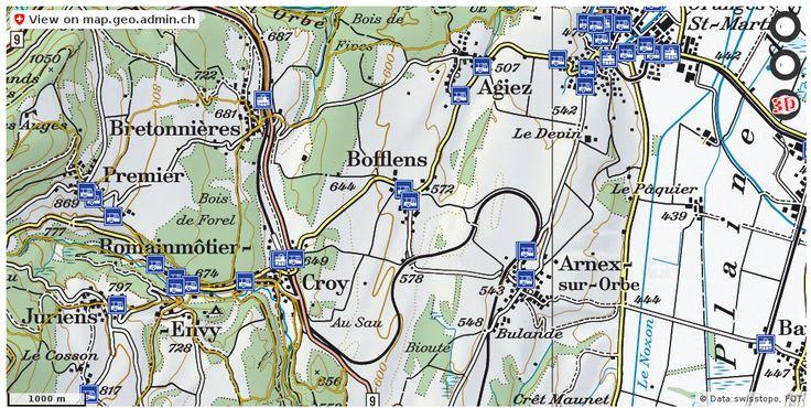 Bofflens VD Wanderwege Karte trail http://ift.tt/2qqd9HS #maps #schweiz