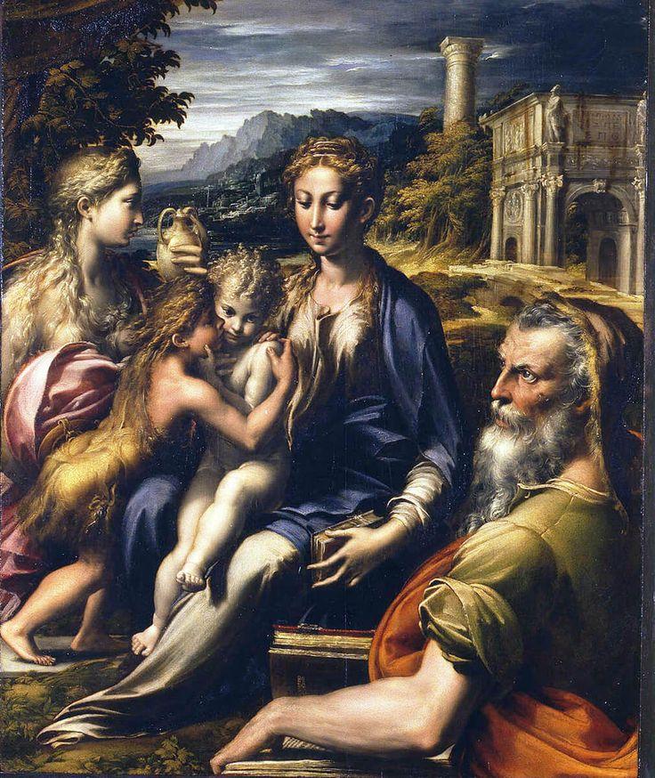 Andrea Schiavone. Parmigianino. Madonna di San Zaccaria, 1530 - 1533 ca. Olio su tavola, cm. 75,5×60. Galleria degli Uffizi, Firenze