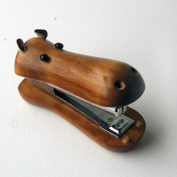 A vintage 1960s wooden Hippopotamus stapler. Make your workspace a little more lively and fun with this whimsical little hippo reminiscent