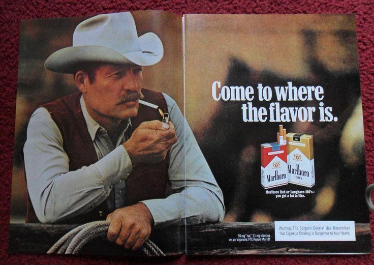 1984 Print Ad Marlboro Man Cigarettes
