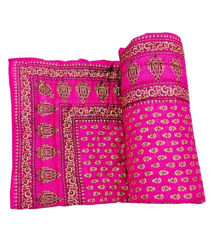 Shop Rajasthan Pink Printed Reversible Cotton Quilt (buy 1 Get 1 Free), http://www.snapdeal.com/product/shop-rajasthan-pink-printed-cotton/1939697966
