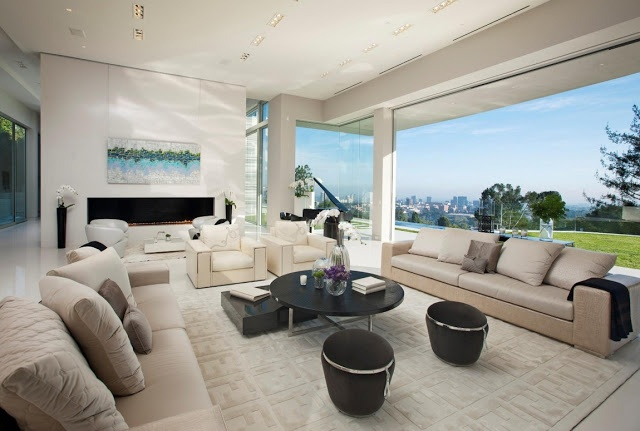 Large bright living room with Los Angeles views.