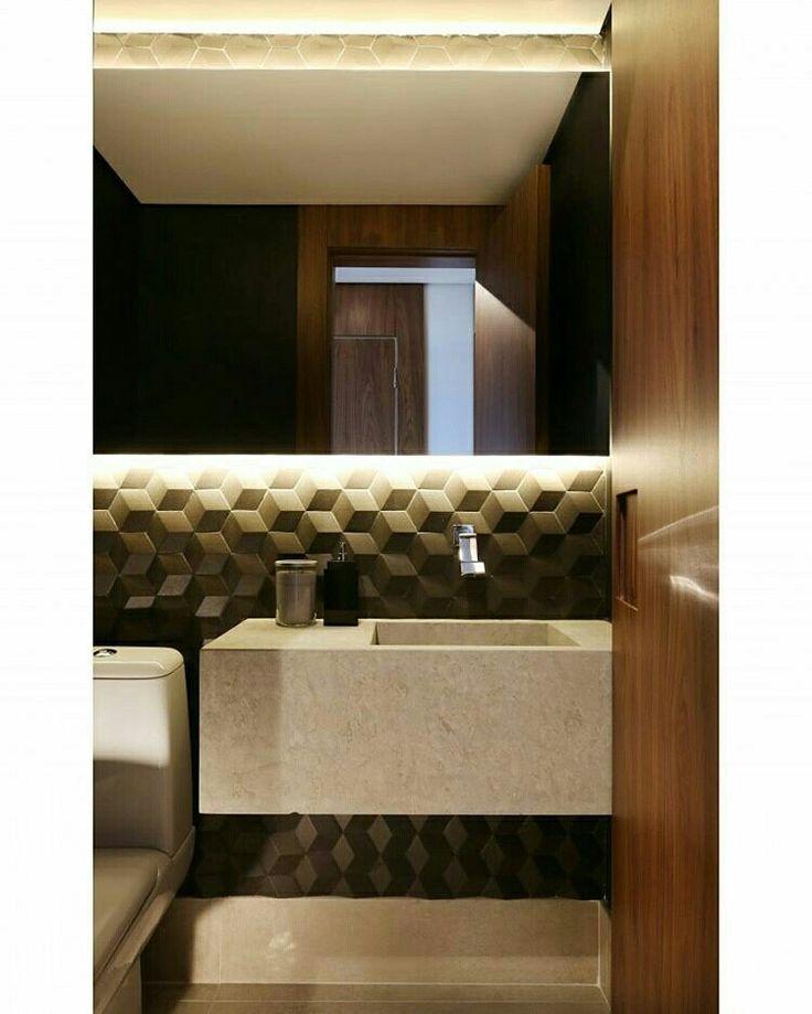 Inspiração ♡ #interiores #design #interiordesign #decor #decoração #decorlovers #archilovers #inspiration #ideias #lavabo #bathroom