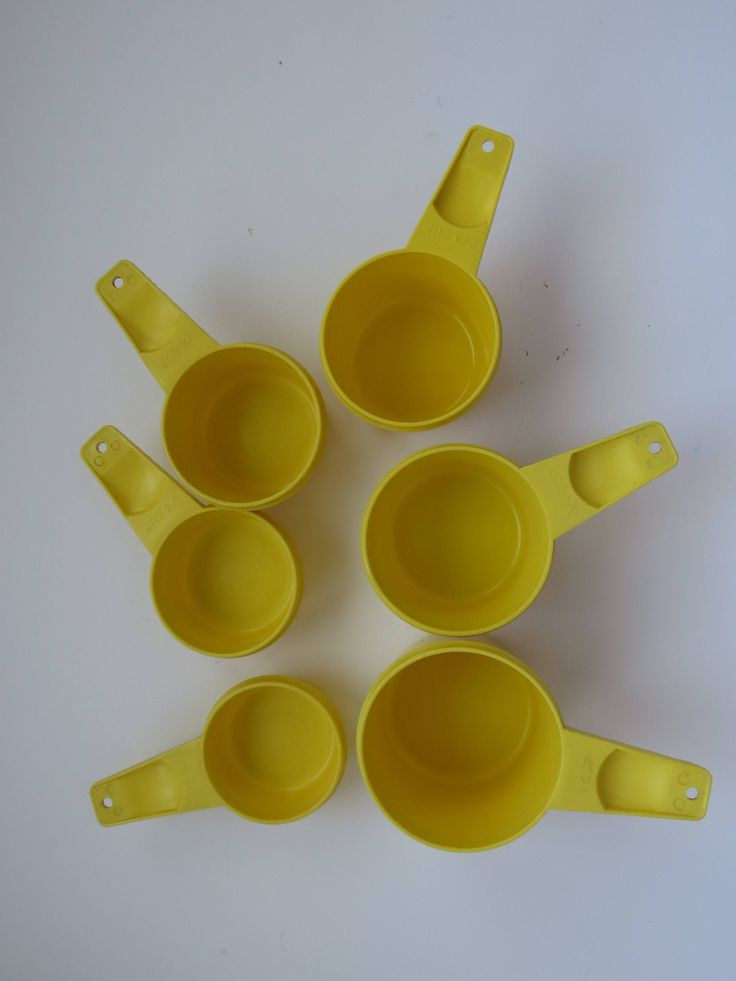 Tupperware Measuring Cups - Set of 6 - Bright Yellow - Retro Vintage Tupperware - Baking Master Chef - Kitchen Prep Tools - Molded Plastic by shabbyshopgirls on Etsy