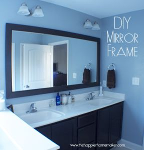 DIY Bathroom Mirror Frame with Molding - The Happier Homemaker