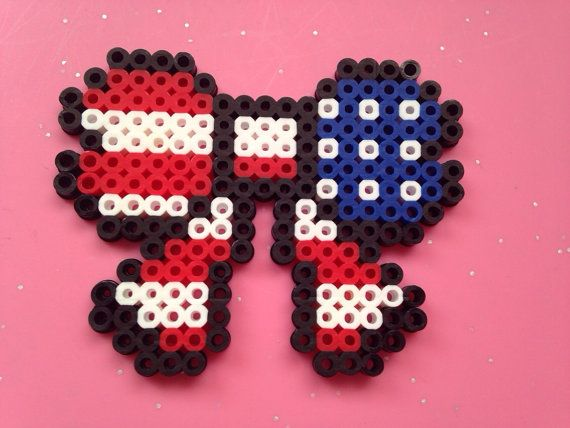American Flag Perler Bead Bow by FashionHasIt on Etsy