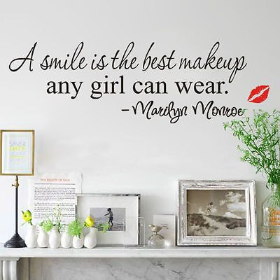 Marilyn Monroe lip A Smile is the best makeup English Words Wall Stickers Decals