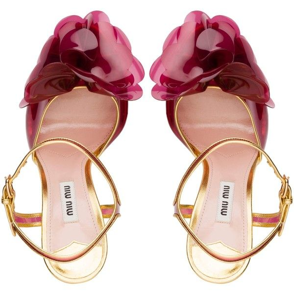 Miu Miu SANDALS ($795) ❤ liked on Polyvore featuring shoes, sandals, blossom footwear, blossom shoes, clear high heel sandals, vinyl shoes and miu miu