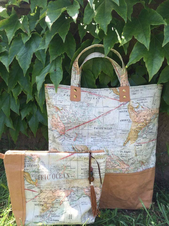 Cristina ha cosido este precioso conjunto de bolsos con nuestra bonita tela de mapas de Eric holtz