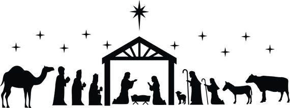 Svg Nativity Manger Classic Scene Dxf Png Eps Pdf Vinyl Etsy Nativity Scene Silhouette Nativity Silhouette Silhouette Christmas