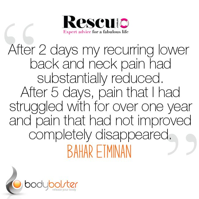""""""" After 2 Days my recurring lower back and neck pain had substantially reduced. After 5 Days, Pain that I had struggled with for over one year and pain that had not improved completely disappeared"""" - Bahar @ RESCU"""