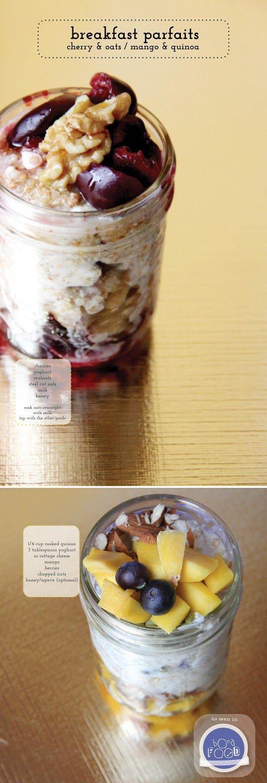 Breakfast parfaits - two ways...Cherries & oats or Mango & Quinoa