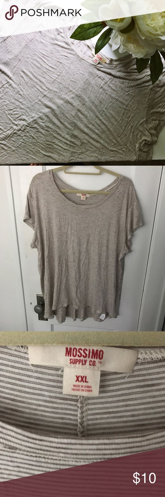Flowy tan and cream short sleeved top Relaxed fit tshirt with slight lo-hi hem. Nice neutral cream and tan stripe. Perfect with a pair of shorts in summer and jeans in the fall. Mossimo Supply Co. Tops Tees - Short Sleeve