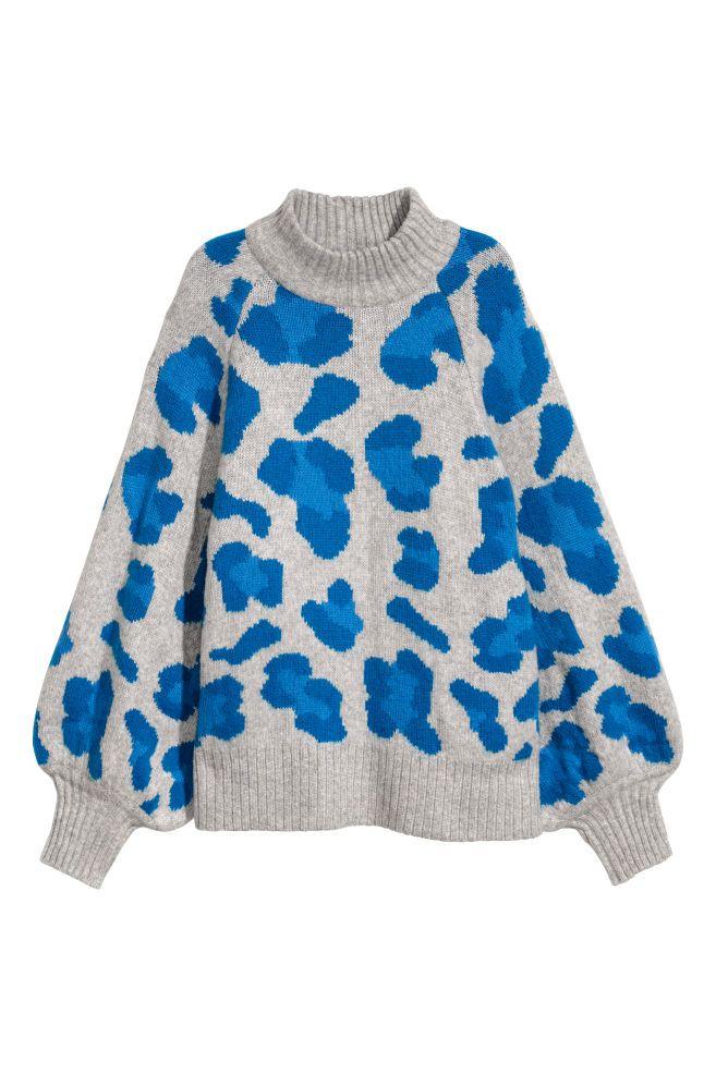 a1fdcf0d Knitted jumper - Light grey/Leopard print - Ladies | H&M GB 1