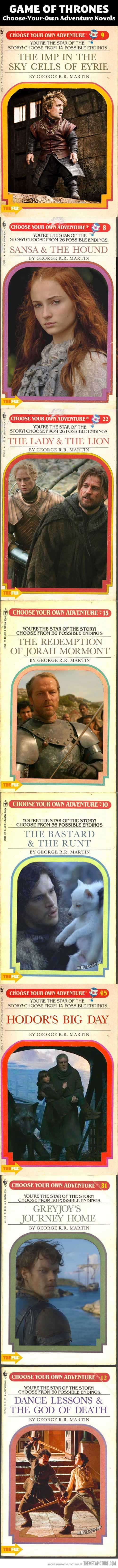 "Game Of Thrones' Choose Your Own Adventure Books… oh, I wish these were real!  Lol at ""Hodor's Big Day"" (which also sounds like a Babysitter's Club title, actually)"
