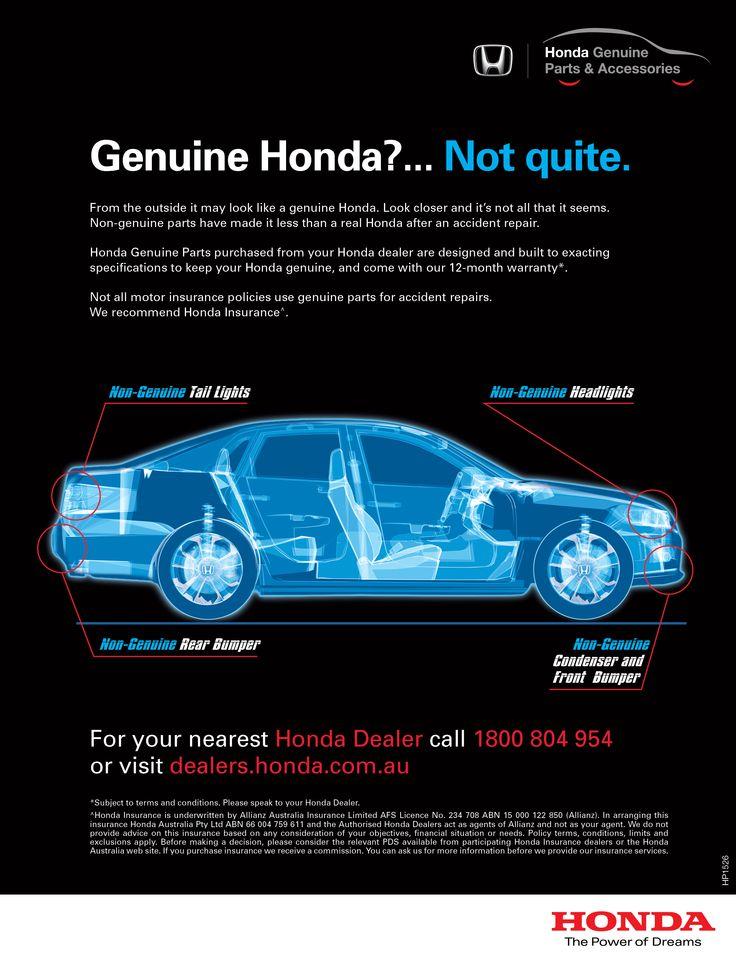 Honda Parts, Press advert design – Advertising Associates – advertisingassociates.com.au