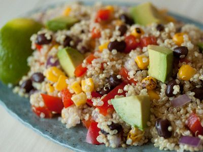 Quinoa salad - this is awesome. Easy peasy. A gluten free grain that is high in protein, low in calories and definitely fills you up. Make this salad up on the weekend and nosh all week on it, adding the avocado before right before you eat. (Minus the corn for me though)