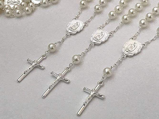 25 Baptism Favors Ivory Color Faux Pearls Silver Plated//25 Recuerdos De Bautizo color beige en tono Plata//Christening Favors//mini rosaries//finger Rosaries//Off white Baptism Favors