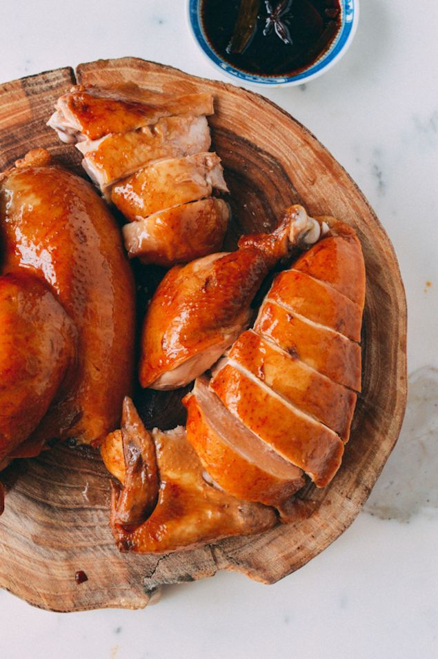 Traditional See Yao Gai Chicken . Often seen in the windows of Chinatown restaurants [anise, ginger, soy sauce - dark and light, rice wine rose-flavoured, scallions, sugar]