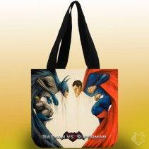 Batman vs Superman Funny Cartoon Tote Bags #confident #bags #adds #more #perfect #and #beautiful #appearanc