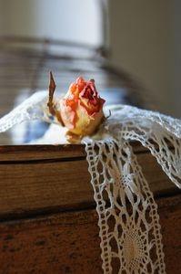 Rose séchée et dentelles