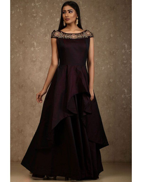 acabb55451 Burgundy Double Layered Designer Gown. Burgundy Double Layered Designer Gown  Burgundy Double Layered Designer Gown Buy Gowns Online, Party Gowns