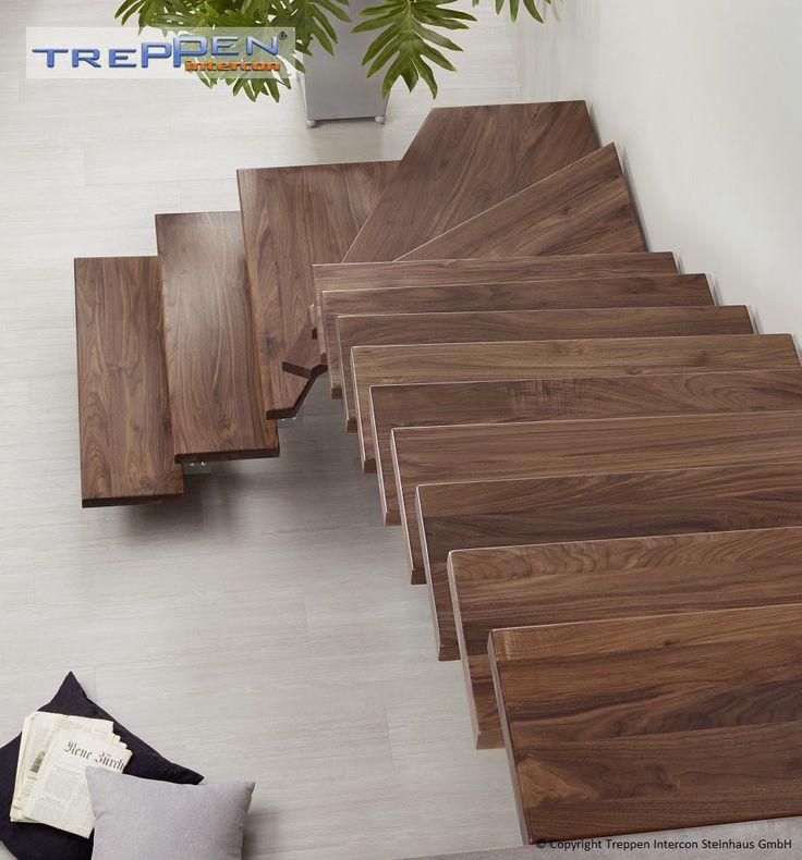 Treppenstufen 40 mm amerikanisches Nussbaum Massivholz erzeugt eine warme wohnliche Umgebung. Treppen Intercon