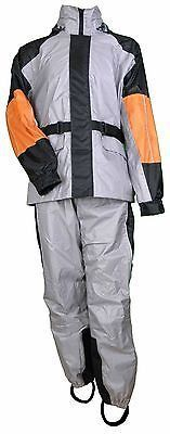 MEN'S MOTORCYCLE MOTORBIKE RAIN SUIT RAIN GEAR REFLECTIVE PIPING BLK/GREY/ORG