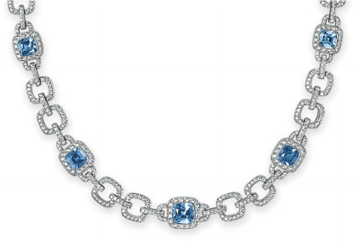 A SET OF AQUAMARINE AND DIAMOND JEWELRY, BY TIFFANY & CO.   Comprising a necklace, designed as a series of five cushion-cut aquamarines, each within a circular-cut diamond surround, to the circular-cut diamond open link neckchain; and a bracelet en suite, mounted in platinum, necklace 16 ins., bracelet 6¾ ins., bracelet with English hallmarks  Each signed Tiffany & Co