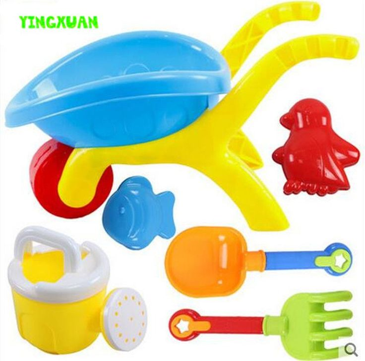 6 pcs Water and Sand Play Tool Kids Plastic Wheelbarrow Mold Shovel Rake Kettle Beach Toy Set Children 3-6 years old