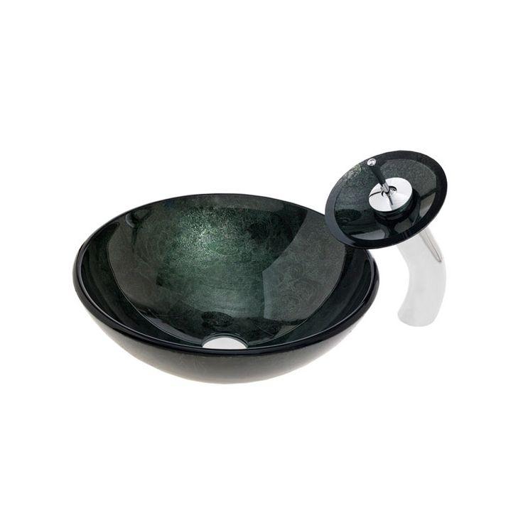 彩色上絵洗面ボウル&蛇口セット 洗面台 洗面器 手洗器 手洗い鉢 洗面ボール 排水金具付 濃緑(0917-VT4013)