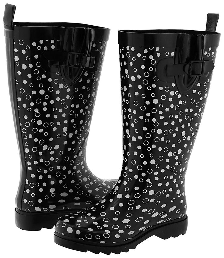Capelli New York Ladies Tall Rubber Rain Boot Dots >>> Details can be found by clicking on the image.
