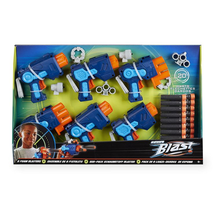 Your sharp shooter and their friends will enjoy hours of soft foam safe target practice with the Stats Blast 6 Pack Foam Blasters. exclusively from Toys R Us. Comes with 20 soft foam darts.<br><br>The Stats Blast Foam Blasters - 6 Pack features:<br><ul><li>6 foam blasters</li><br><li>20 soft foam darts</li></ul><br><br><br><br>At the <b>Stats</b> Sports Store for outdoor sporting goods and equipment, great value is always in season! Sold exclusively at Toys'R'Us, <b>Stats</b> features cool…