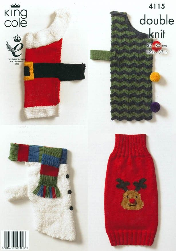 Christmas Dog Coats in King Cole DK (4115) | Christmas Patterns | Knitting Patterns | Deramores