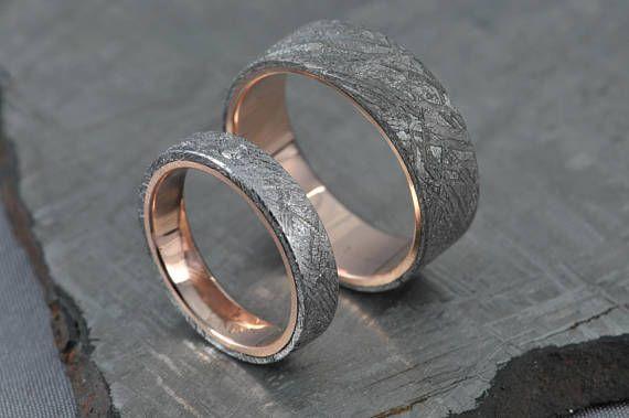 Meteorite Pair Rose gold wedding ring set engagement ring