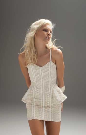 Blessed are the Meek Boa fitted dress in nude and ivory. Simply stunning. $229.95
