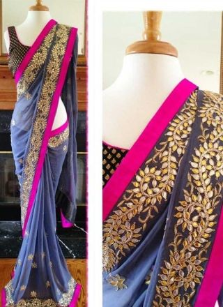 Lavender Embroidered Pita Work Booti Work Georgette Party Wear Designer Sarees http://www.angelnx.com/Sarees/Party-Wear-Sarees