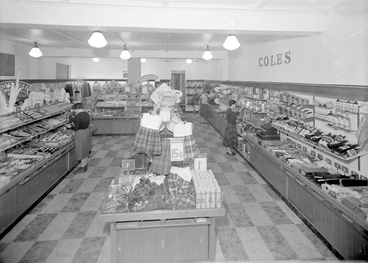 Women shopping for merchandise at Coles department store in the 1950s. Merchandise includes cookware, clothing, cosmetics, plants and haberdashery. This image is part of the Laurie Richards Collection at Museum Victoria comprising approximately 85,000 negatives taken by the Melbourne based Laurie Richards Studio between the 1950s -1970s. These ...