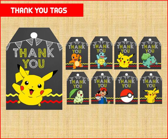 Chalkboard Pokemon Thank you Tags instant download, Printable Pikachu Chalkboard Thank you tags , Pokemon Party Label Tag