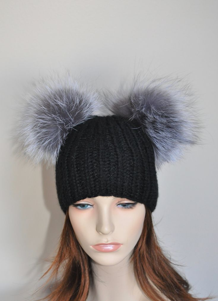 Double PomPom Black Beanie 100% CASHMERE Hat 2 Fur pompoms Ribbed Beanie Black Hat Double Bobbles Black hat Christmas Gift by lucymir on Etsy