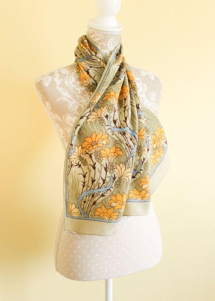 Vintage Echo Scarf | Silk Scarf | Floral Silk Scarf | William Morris Style | Evening Formal Scarf | Japanese Silk | Oriental Head Scarf. by Venelle on Etsy