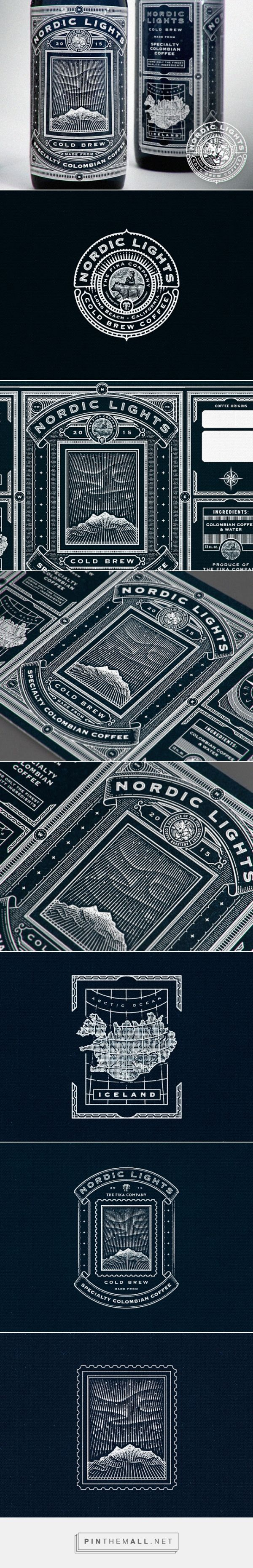 Nordic Lights Coffee packaging designed by Ye Olde Studio - http://www.packagingoftheworld.com/2016/01/nordic-lights.html - created via https://pinthemall.net