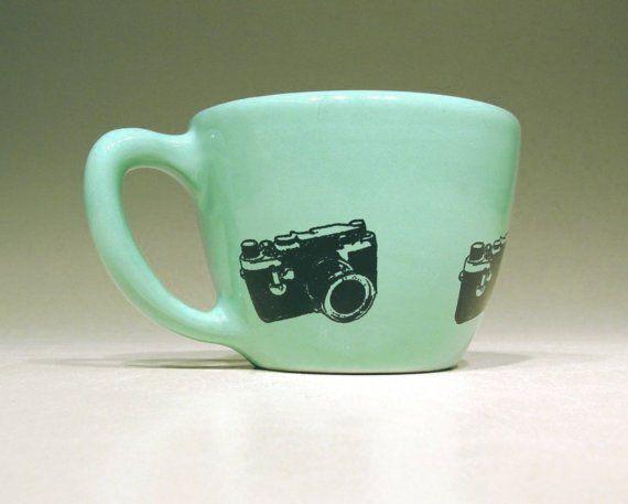 Made to Order  12oz cup leica bluegreen/white by CircaCeramics