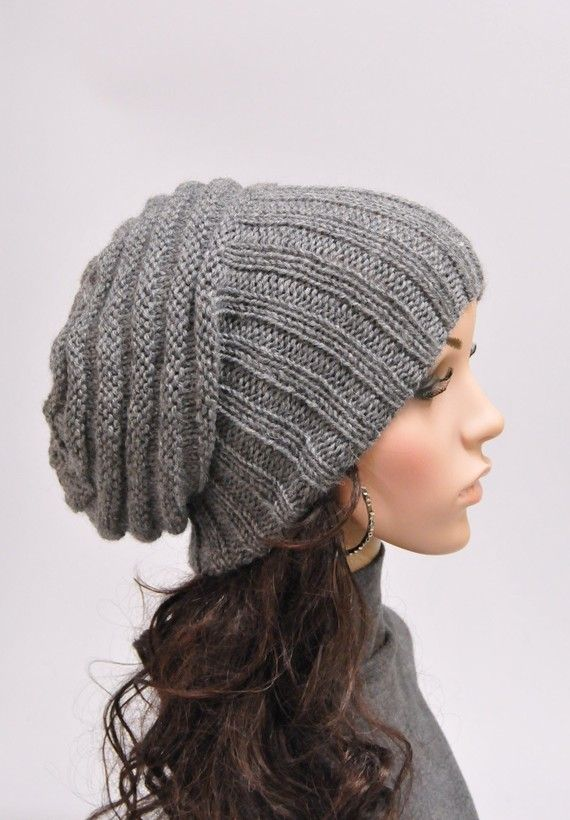 Knitting Pattern Wooly Hat : Hand knit hat woman winter hat Light Grey Chunky Wool Hat slouchy hat- ready ...