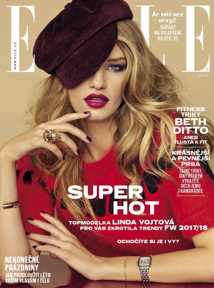 Linda H.Vojtova is stunning in Fendi red on the cover of ELLE Czech.