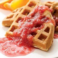 Rhubarb Waffles with Rhubarb Sauce - EatingWell.com