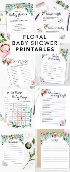 Printable Floral Garden Party Ideas by LittleSizzle. Click through to instantly download your own floral baby shower games and printable baby shower invitations or re-pin for later! Spring Baby Shower Girl Invitation Printable. Girl Baby Shower games. Diaper raffle ticket, book request cards, who knows mommy best, advice for new mom to be, baby predictions, baby bingo and many more games to entertain large groups of guests! #babyshowergames #babyshowerideas #floralparty #diy #printable…
