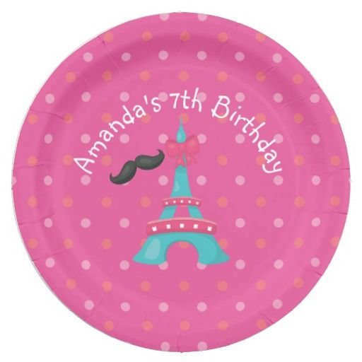 Girl's Pink Paris Birthday Party Personalized 9 Inch Paper Plate