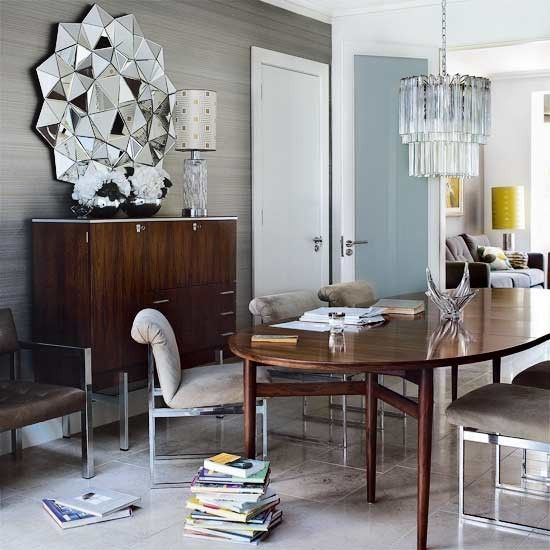 obsessed with the 3D mirror in this dining room