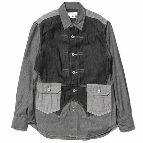 GANRYU Garment Washed Cotton Dungaree x Cotton Denim Shirt Black Mix
